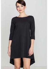 Katrus - Czarna Asymetryczna Sukienka z Plisami. Kolor: czarny. Materiał: wiskoza, poliester. Typ sukienki: asymetryczne