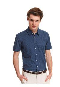 Niebieska koszula TOP SECRET krótka, z klasycznym kołnierzykiem