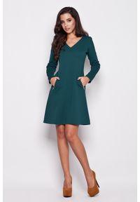 Zielona sukienka wizytowa Katrus elegancka