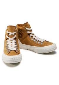 Brązowe sneakersy Converse na co dzień, z cholewką