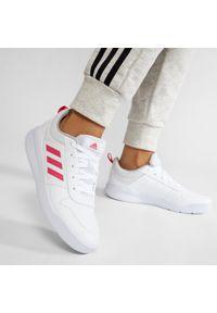 Adidas - Buty adidas - Tensaur K S24034 Ftwwht/Reapnk/Ftwwht. Okazja: na co dzień. Kolor: biały. Materiał: skóra. Szerokość cholewki: normalna. Styl: casual