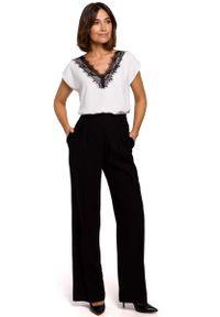 Czarne spodnie z wysokim stanem MOE eleganckie
