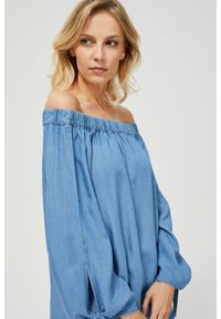 Niebieska koszula MOODO z długim rękawem, z dekoltem typu hiszpanka, długa