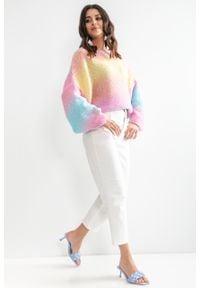 e-margeritka - Sweter oversize kolorowy z szerokimi rękawami - l/xl. Materiał: wełna, akryl, poliester, poliamid, materiał. Długość: krótkie. Wzór: kolorowy. Sezon: wiosna