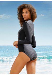 Czarny strój kąpielowy jednoczęściowy bonprix w paski