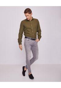 FAY - Zielona koszula z lnu. Kolor: zielony. Materiał: len. Długość rękawa: długi rękaw. Długość: długie. Wzór: aplikacja. Styl: wakacyjny
