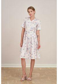 Marie Zélie - Sukienka Alodia Anates. Materiał: bawełna, satyna, skóra, materiał. Długość rękawa: krótki rękaw