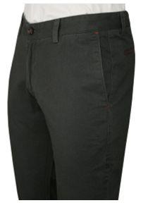 Chiao - Grafitowe Bawełniane Spodnie Męskie, CHINOSY, Kolorowe Wykończenia -CHIAO- Mankiety. Kolor: szary. Materiał: bawełna. Wzór: kolorowy