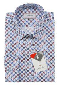 Victorio - Bawełniana Koszula z Długim Rękawem, VICTORIO - Kolorowe Grochy. Kolor: wielokolorowy. Materiał: bawełna, poliester. Długość rękawa: długi rękaw. Długość: długie. Wzór: grochy, kolorowy. Styl: elegancki