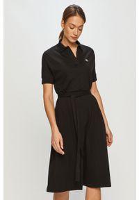 Czarna sukienka Lacoste gładkie, na co dzień, midi, rozkloszowana