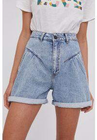 Answear Lab - Szorty jeansowe bawełniane. Stan: podwyższony. Kolor: niebieski. Materiał: bawełna, jeans. Styl: wakacyjny
