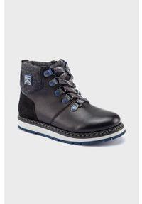 Czarne buty zimowe Mayoral z okrągłym noskiem, z cholewką