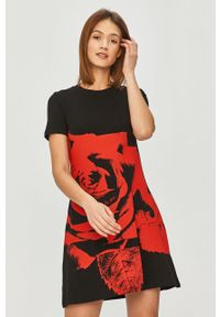 Czarna sukienka Desigual z nadrukiem, z krótkim rękawem, prosta