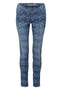 """Dżinsy SKINNY z nadrukiem w motyle bonprix niebieski """"stone"""" z nadrukiem. Kolor: niebieski. Wzór: nadruk. Styl: elegancki"""