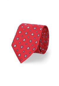 Lancerto - Krawat Czerwony w Kwiaty. Kolor: czerwony. Materiał: tkanina, mikrofibra, materiał. Wzór: kwiaty. Styl: elegancki