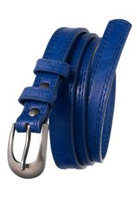 4U CAVALDI - Pasek damski granatowy Cavaldi SBB-CV-1 BLUE 105. Kolor: niebieski. Materiał: skóra. Wzór: gładki. Styl: elegancki