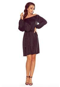Numoco - Czarna Połyskująca Sukienka z Hiszpańskim Dekoltem. Kolor: czarny. Materiał: wiskoza, poliester