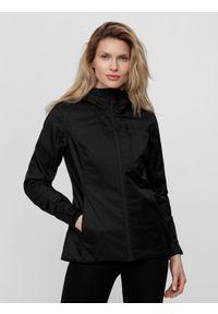 Czarna kurtka przeciwdeszczowa 4f ze stójką, na co dzień, sportowa