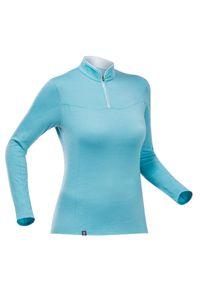 FORCLAZ - Koszulka trekkingowa damska z długim rękawem Forclaz TREK 500 MERINO. Kolor: niebieski. Materiał: poliamid, materiał, wełna. Długość rękawa: długi rękaw. Długość: długie. Sezon: lato