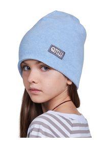 ROBERT KUPISZ - Niebieska czapka KIDS BEANIE. Kolor: niebieski. Materiał: wełna, materiał, puch. Wzór: aplikacja