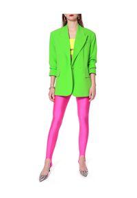 AGGI - Różowe legginsy Gia. Okazja: na co dzień. Stan: podwyższony. Kolor: wielokolorowy, fioletowy, różowy. Materiał: materiał, tkanina. Sezon: lato. Styl: casual, sportowy