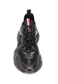 MONCLER - Czarne sneakersy Leave No Trace. Okazja: na co dzień. Zapięcie: pasek. Kolor: czarny. Materiał: dresówka, guma. Wzór: nadruk