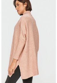 Różowy sweter Answear Lab z długim rękawem, z golfem, wakacyjny, długi
