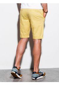 Ombre Clothing - Krótkie spodenki męskie casual W243 - żółte - XXL. Okazja: na co dzień. Kolor: żółty. Materiał: elastan, bawełna. Długość: krótkie. Sezon: lato. Styl: casual