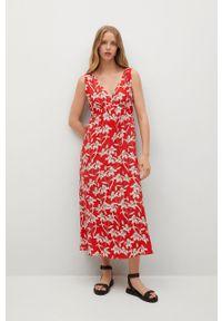 mango - Mango - Sukienka Becca. Kolor: czerwony. Materiał: tkanina. Typ sukienki: rozkloszowane