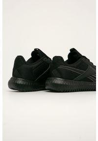 Czarne buty sportowe Reebok na obcasie, na średnim obcasie, z cholewką, na sznurówki