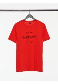outhorn - T-shirt z nadrukiem męski. Materiał: bawełna, wiskoza, jersey, materiał. Wzór: nadruk