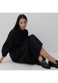 Reserved - Sukienka z bawełny organicznej - Czarny. Kolor: czarny. Materiał: bawełna