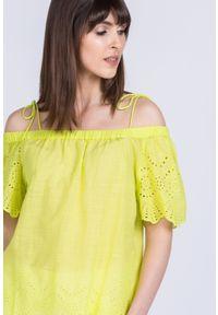 Zielona bluzka Monnari casualowa, z krótkim rękawem