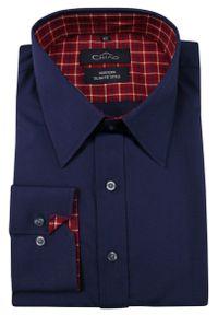 Chiao - Granatowa Koszula Męska z Długim Rękawem, 100% Bawełna -CHIAO- Taliowana, Czerwone Dodatki. Okazja: do pracy, na spotkanie biznesowe. Kolor: wielokolorowy, czerwony, niebieski. Materiał: bawełna. Długość rękawa: długi rękaw. Długość: długie. Wzór: aplikacja. Styl: biznesowy, elegancki