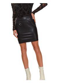 TOP SECRET - Mini spódniczka ze skóry ekologicznej. Kolor: czarny. Materiał: skóra ekologiczna. Styl: klasyczny, elegancki