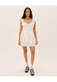 For Love & Lemons - FOR LOVE & LEMONS - Biała sukienka z koronką Serena. Kolor: biały. Materiał: koronka. Długość rękawa: na ramiączkach. Wzór: koronka. Sezon: lato. Styl: elegancki. Długość: mini
