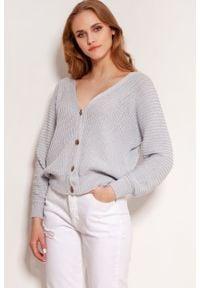 Lanti - Sweter w Prążki Zapinany na Guziki - Szary. Kolor: szary. Materiał: bawełna, akryl. Wzór: prążki