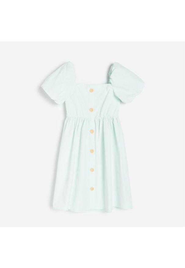 Reserved - Bawełniana sukienka - Zielony. Kolor: zielony. Materiał: bawełna