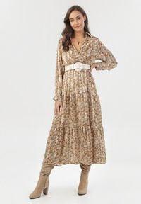 Born2be - Beżowa Sukienka Shyvynia. Kolor: beżowy. Materiał: materiał. Długość rękawa: długi rękaw. Wzór: nadruk. Typ sukienki: kopertowe. Długość: maxi