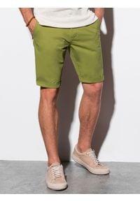 Ombre Clothing - Krótkie spodenki męskie casual W243 - zielone - XXL. Okazja: na co dzień. Kolor: zielony. Materiał: elastan, bawełna. Długość: krótkie. Sezon: lato. Styl: casual