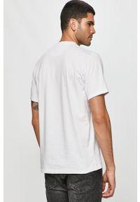 Biały t-shirt Prosto. na co dzień, z nadrukiem, casualowy, z okrągłym kołnierzem