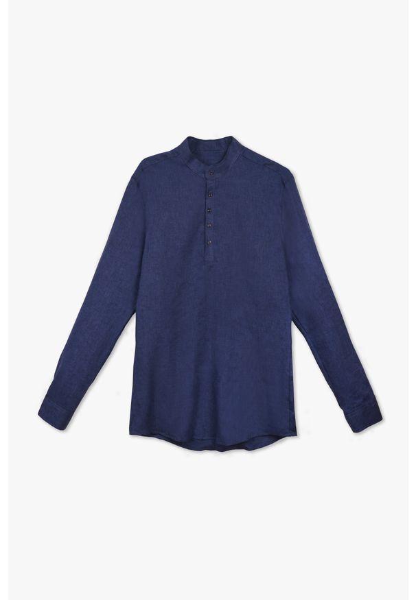Niebieska koszula VEVA sportowa, w kolorowe wzory, ze stójką