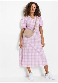 Sukienka midi bonprix kolor bzu - biały w kratę. Typ kołnierza: dekolt w serek. Kolor: różowy. Długość rękawa: krótki rękaw. Styl: elegancki. Długość: midi