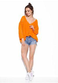 Pomarańczowy sweter oversize Lemoniade z podwójnym kołnierzykiem