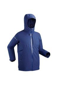 WEDZE - Kurtka narciarska męska Wedze 580. Kolor: niebieski. Materiał: skóra, materiał. Sport: narciarstwo