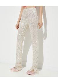 MACH&MACH - Brokatowe spodnie z wysokim stanem. Stan: podwyższony. Kolor: beżowy. Materiał: jedwab, tkanina. Styl: wizytowy