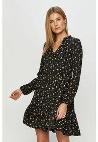 Czarna sukienka Haily's na co dzień, mini, z długim rękawem, w kwiaty