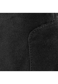 Niebieskie kozaki Calvin Klein na średnim obcasie, na obcasie, z cholewką