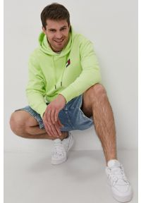 Tommy Jeans - Bluza bawełniana. Kolor: zielony. Materiał: bawełna