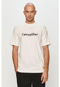 Biały t-shirt CATerpillar casualowy, na co dzień